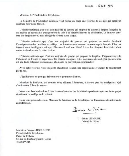 lettre au Président de la République