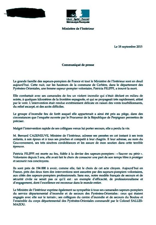 Lettre du Ministre de l'Intérieur
