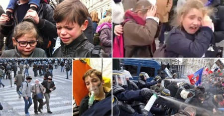 Hier à la Manif pour tous, on gaze des enfants, on embarque un papy, on matraque des mères de famille