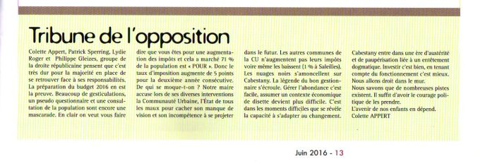 tribune de l'opposition